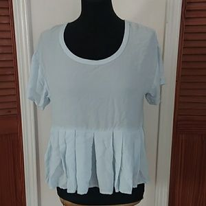NEW! BELLA LUXX BABY BLUE TOP WITH PLEATS MEDIUM